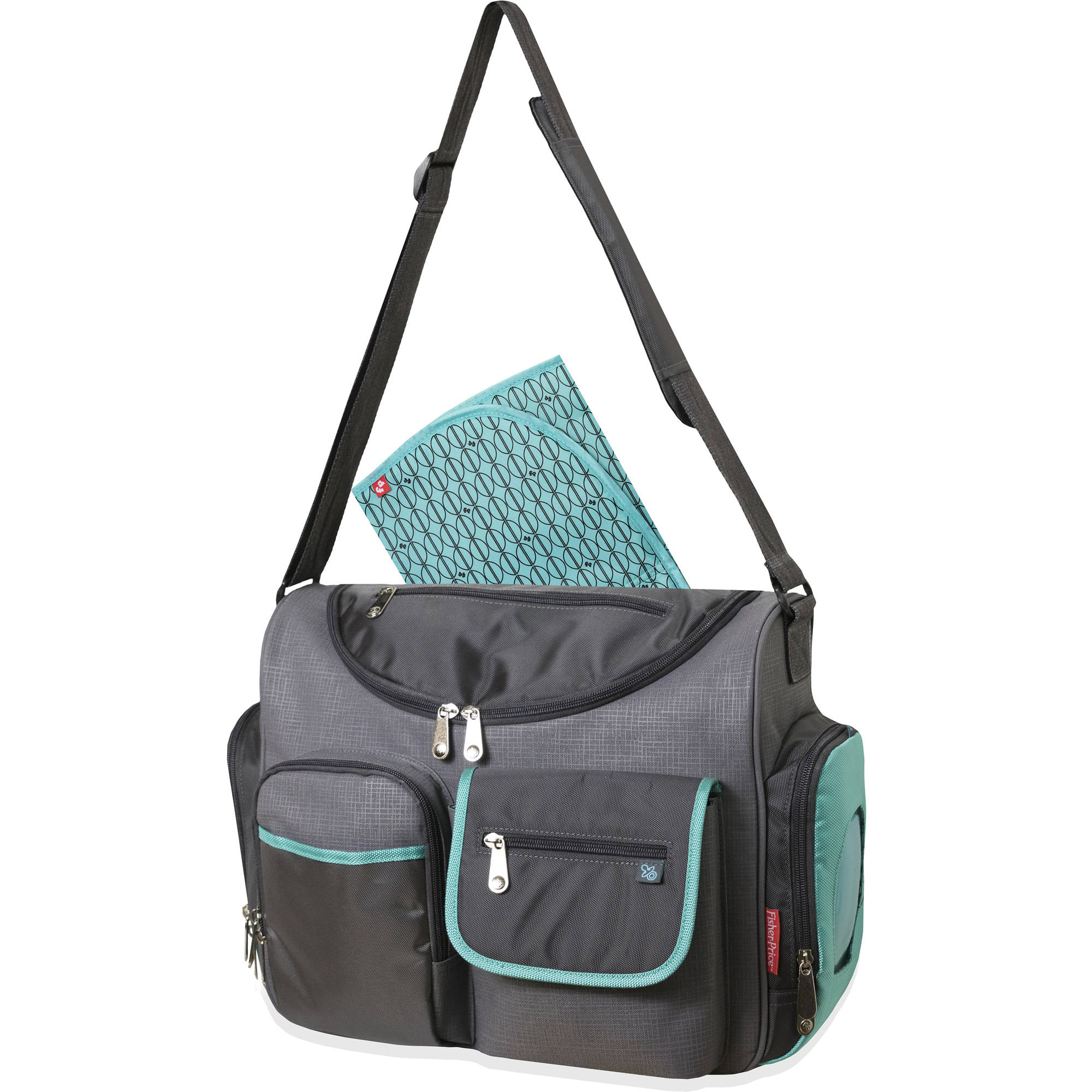 Fisher-Price Gray/Teal Wide Opening Diaper Bag