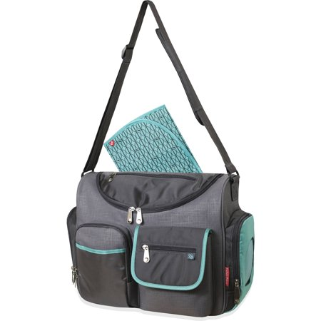 fisher price gray teal wide opening diaper bag. Black Bedroom Furniture Sets. Home Design Ideas