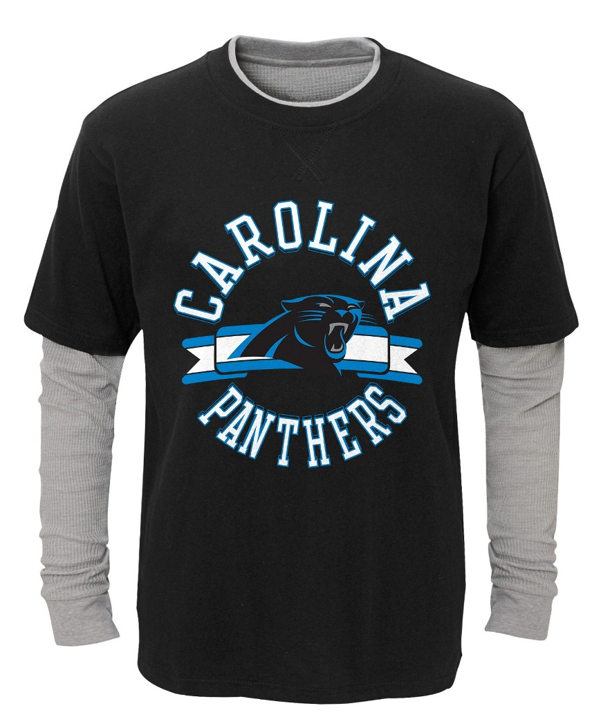 "Carolina Panthers Youth NFL ""Definitive"" L S Faux Layer Thermal Shirt by Outerstuff"