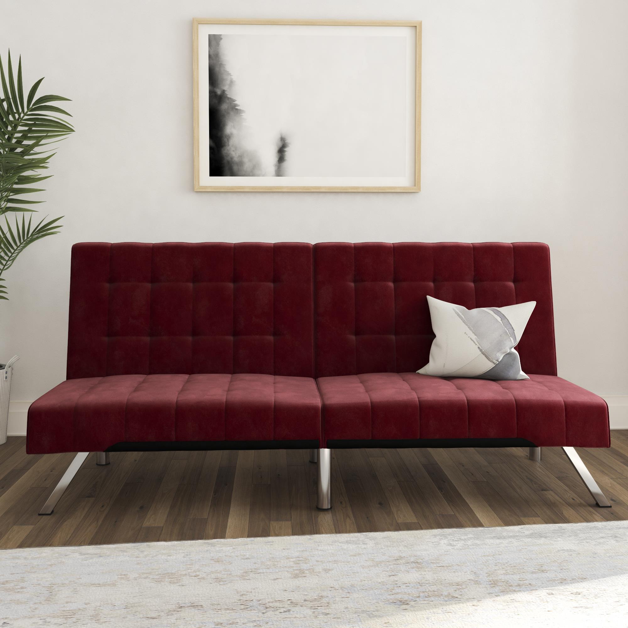 DHP Emily Convertible Tufted Futon Sofa, Burgundy Velvet ...
