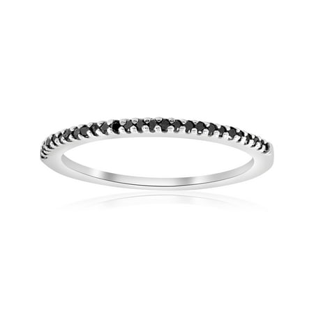 1/6ct Treated Black Diamond Stackable Wedding Ring 14k White Gold ()