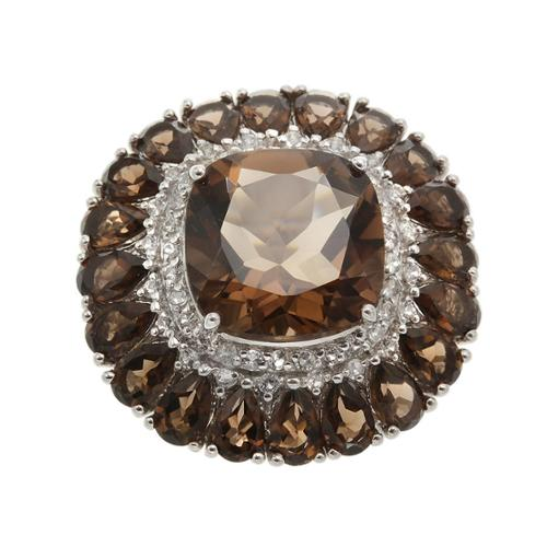 Bonhuer West Holding Sterling Silver 19.9ct Smoky Quartz and White Topaz Flower Ring