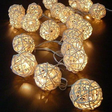 20 Light Ball End (20 LED Color Rattan Ball String Fairy Lights For Xmas Wedding Party Hot BG)