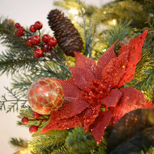 "19.5"" Red Glittered Burlap Poinsettia Pinecone Pick"