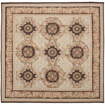 Due Process Le Trading Aubusson Gueret Pink Brown Square Area Rug 12 X Ft