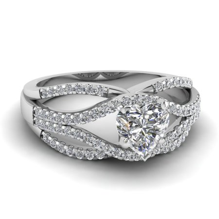 1 Carat Heart Shaped Diamond Twisted Split Criss Cross Engagement Ring In 14K White Gold GIA Certified