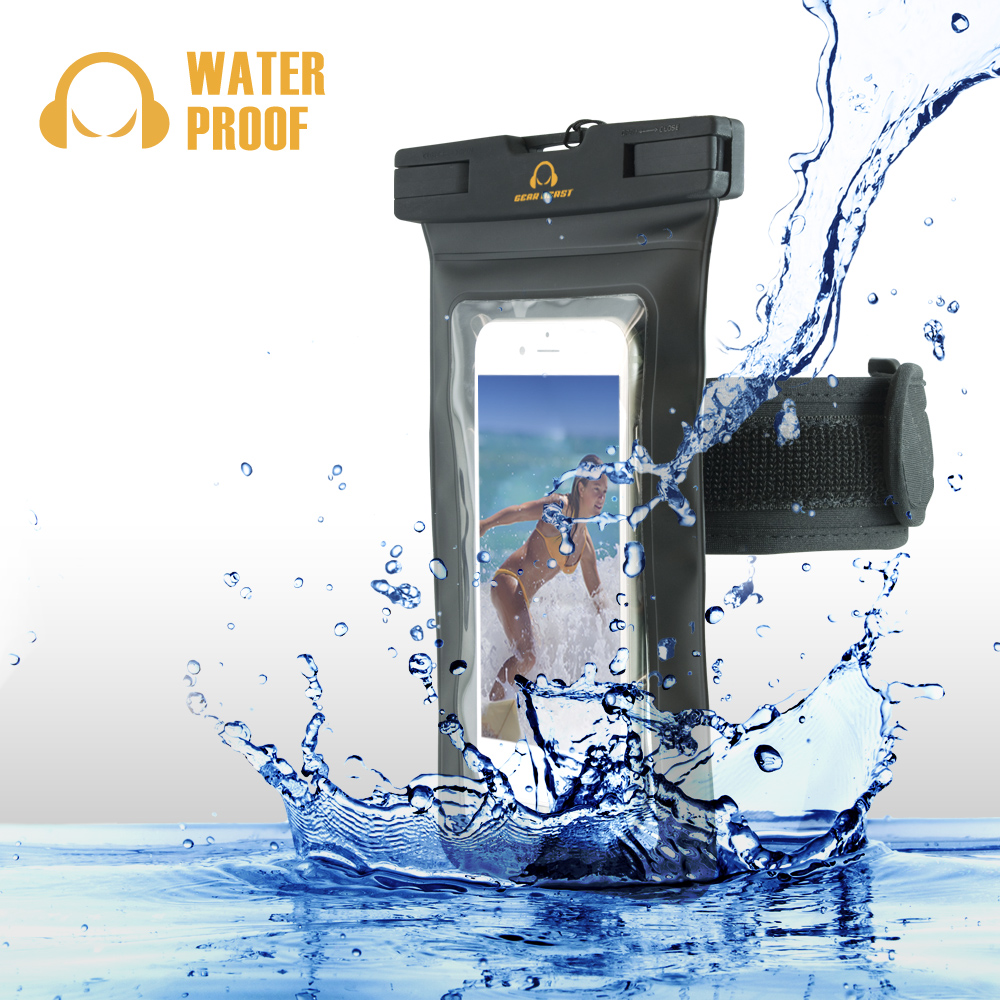 Gear Beast Heavy Duty Universal Cell Phone Dry Bag IPX8 Certified Waterproof Phone Case Armband Pouch for iPhone X 8 Plus 8 7 Plus 7 6s Plus 6s 6 Plus 6 Galaxy S9 S9 Plus S8 S8 Plus S7 S6 Note 8 5