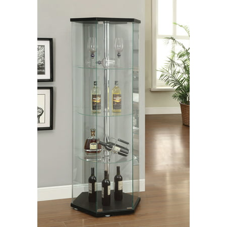 Coaster Home Furnishings Curio Cabinet, Black Front Curio Cabinet