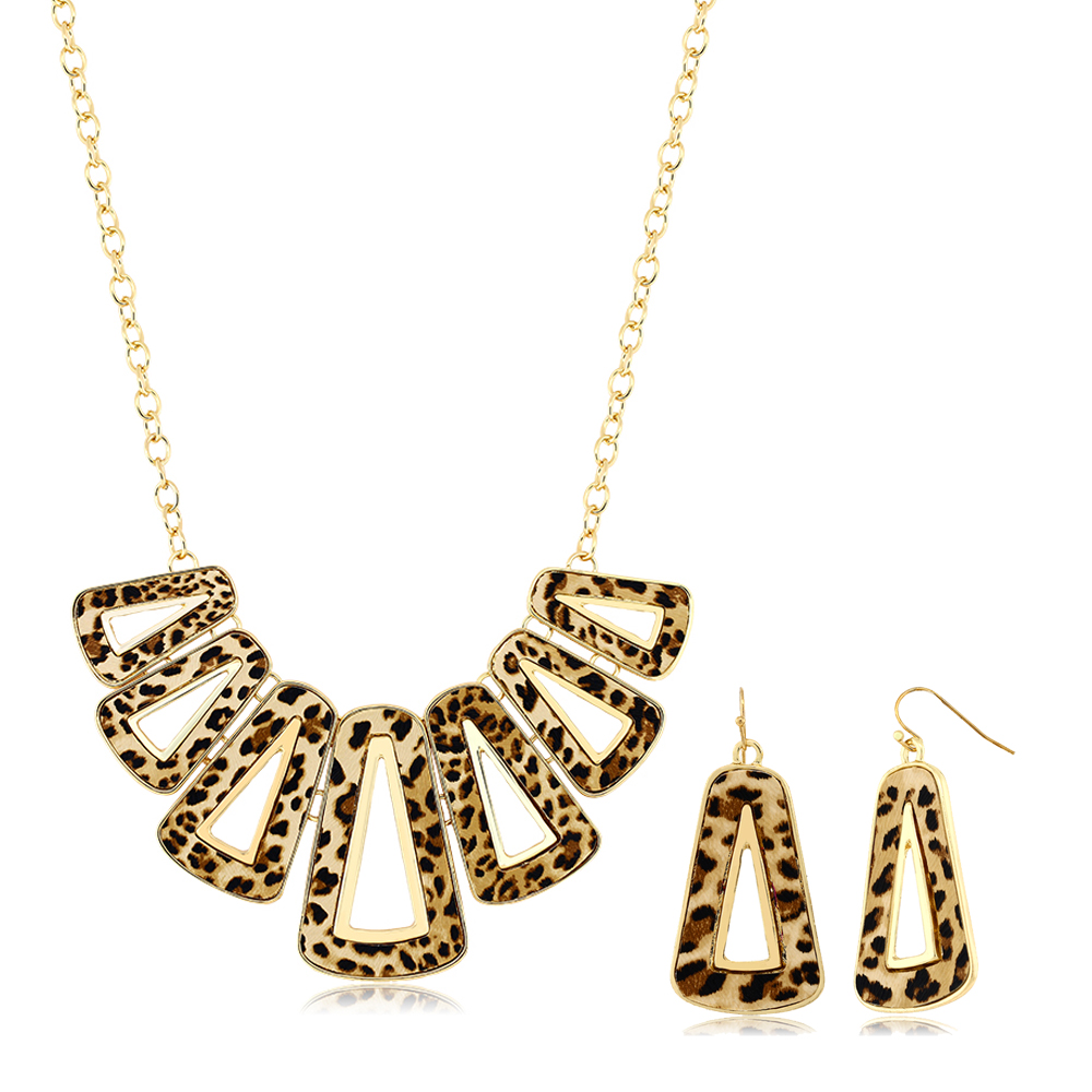Stunning Leopard Set with Geometric Dangle Earrings and Necklace Set