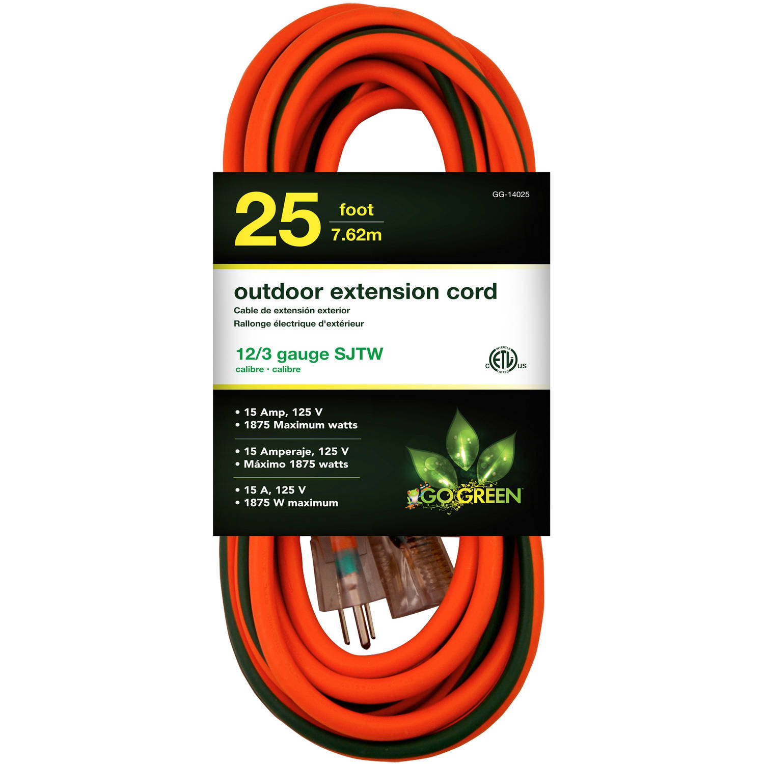 GoGreen Power 14025 12/3 25' Heavy-Duty Extension Cord, Lighted End