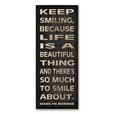Gango Home Decor Marilyn Monroe Inspirational Quote Wall Art; Keep Smiling, Life is a Beautiful Thing by N. Harbick; One Black and White 8x20in Unframed Paper Print (Paper Only, No Frame) - Marilyn Monroe Party Supplies