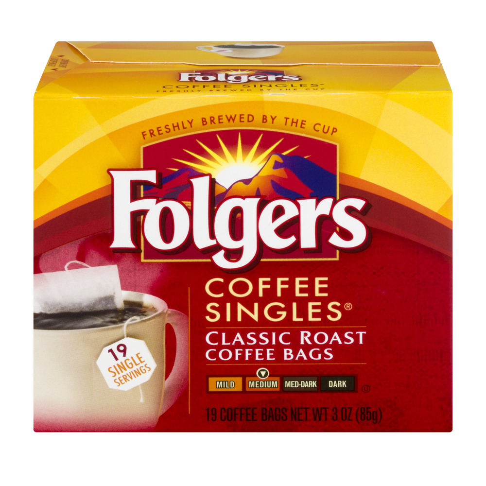 Folgers Coffee Singles Coffee Bags Classic Roast - 19 CT