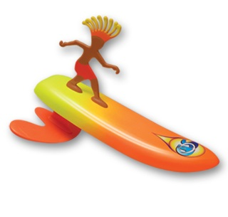 surfer dudes wave powered mini-surfer and surfboard beach toy costa rica rick by