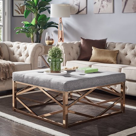 Weston Home Libby Dimpled Tufted Cushion Ottoman Coffee Table With Champagne Geometric Gold Base, Multiple Colors by Weston Home