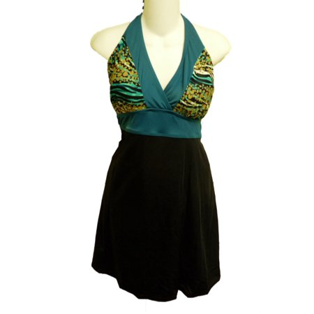 Tropical Escape Womens Black Green Banded Swimdress Swimming Suit Swim - Halloween Fancy Dress Escape
