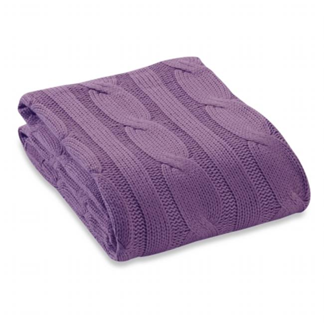Affinity Linens KCBL100PCT-LLC Soft 100 percent Cotton Knitted Throw - Lilac