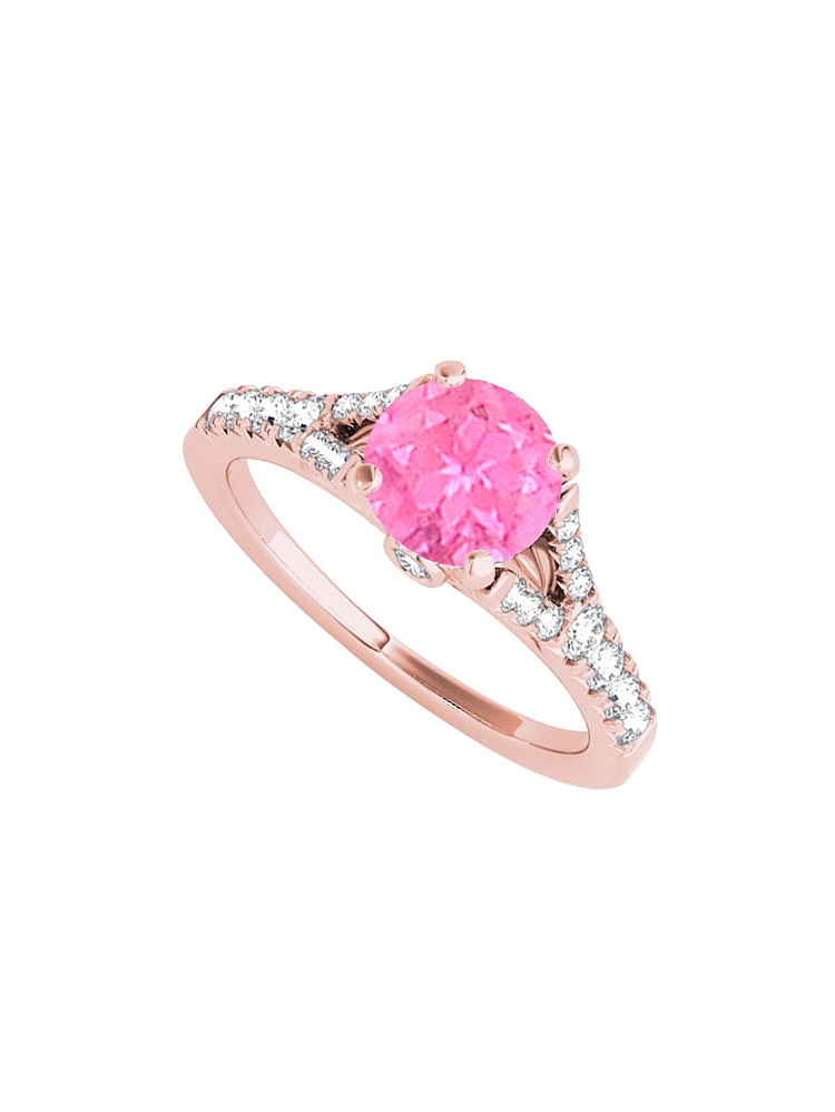 Pink Sapphire Cubic Zirconia Split Shank Ring in 14K Rose Gold by Love Bright