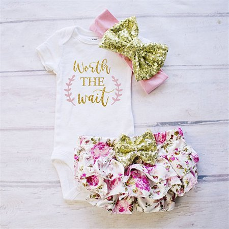 1d9c8e241 Newborn Baby Girls Cotton Tops Romper Jumpsuit Floral Shorts Pants 3Pcs  Outfits Set Clothes Pink 0