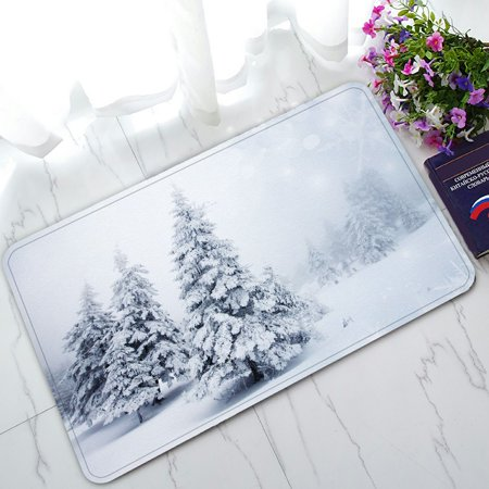 PHFZK Winter Landscape Doormat, Merry Christmas with Snowy Trees Doormat Outdoors/Indoor Doormat Home Floor Mats Rugs Size 30x18 (Best Winter Floor Mats)