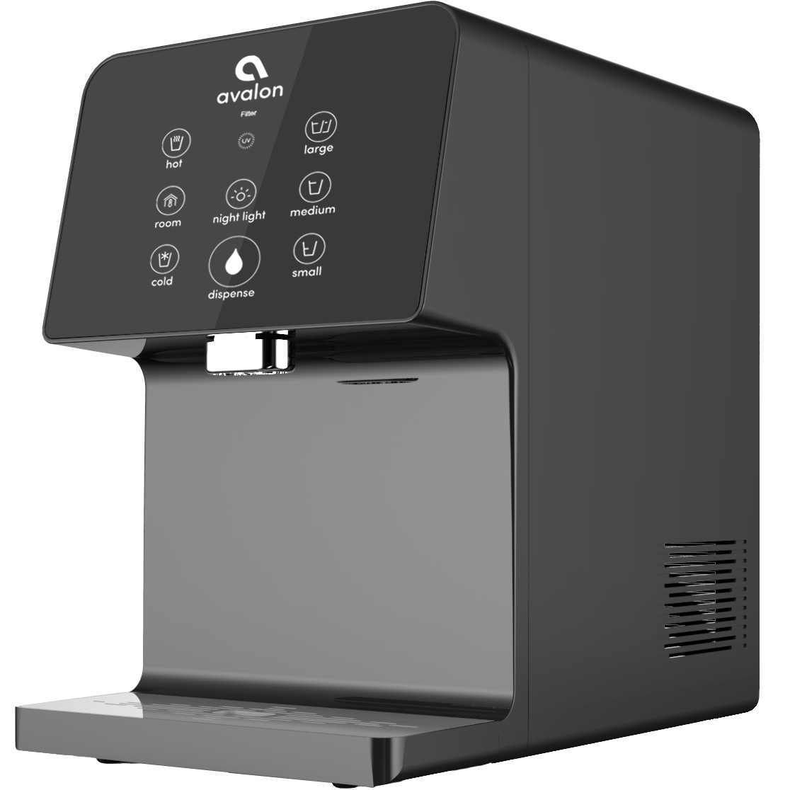 Avalon Electric Countertop Bottleless Water Cooler Water Dispenser, 3 Temperatures, UV Cleaning, 3 Dispensing Volumes- Black