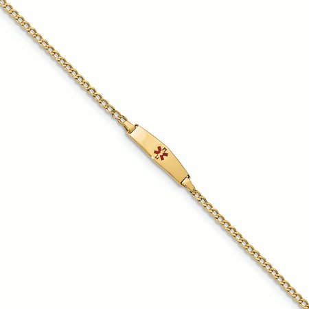 14K Yellow Gold Curb Link 5.5 MM Engravable ID Diamond Shape Medical Alert Bracelet,
