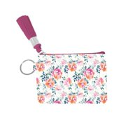 Savannah Floral Print Zip ID Card Case Key FOB, Pink Multi