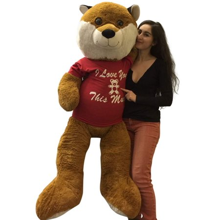 5 foot giant stuffed fox 60 inch soft wears removable tshirt i love