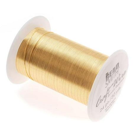 Tarnish Resistant Gold Color Copper Wire 24 Gauge 30 Yards (27.4 Meters) 1 Spool