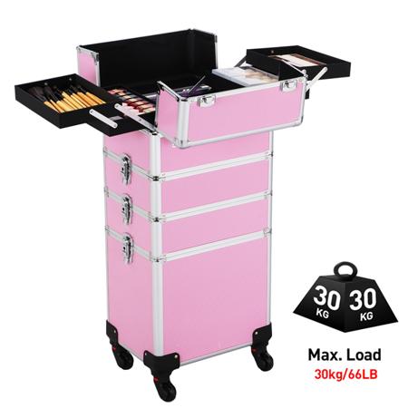 Professional Aluminum 4 in 1 Cosmetic Trolley Beauty Makeup Case Trolley Case, (Hardside Beauty Case)