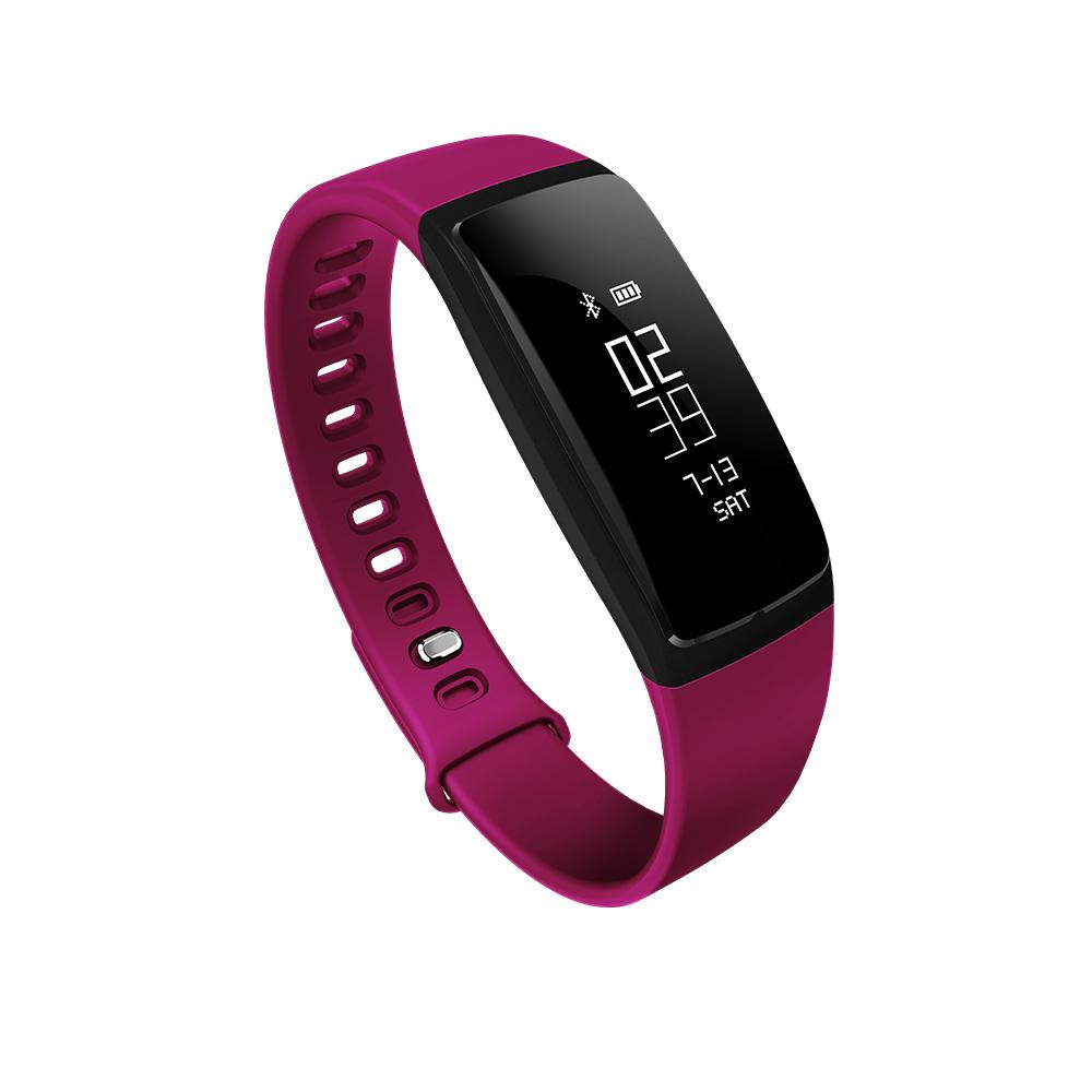 087inch Oled Tpu Wrist Strap Ip67 Waterproof Hr Monitor Bp Test Tensimeter Digital Wristband Movement Trace Smart Sports Rose Red