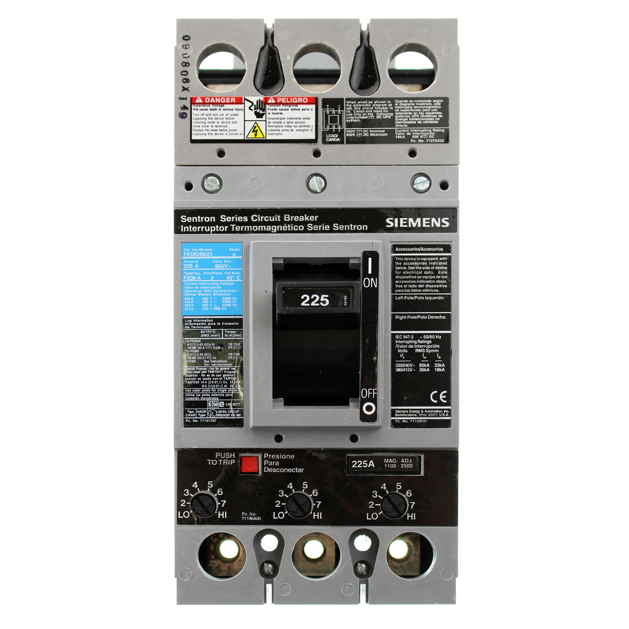 Siemens FXD63B225, FXD 225 Amp, 600V, Circuit Breaker Trip Unit, FXD 225A