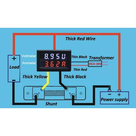 12v 0 100v 0 100a Car Digital Voltmeter Ammeter Led Amp Volt Meter 12v Dual Shunt Walmart Canada