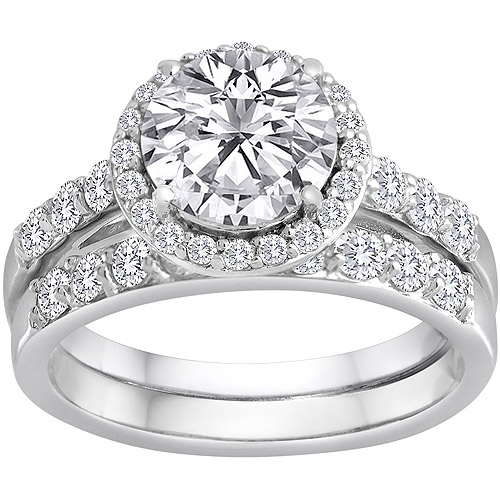 Pure Perfection Certified Bridal Ring with Brilliant Halo Center Stone Made with Swarovski Zirconia