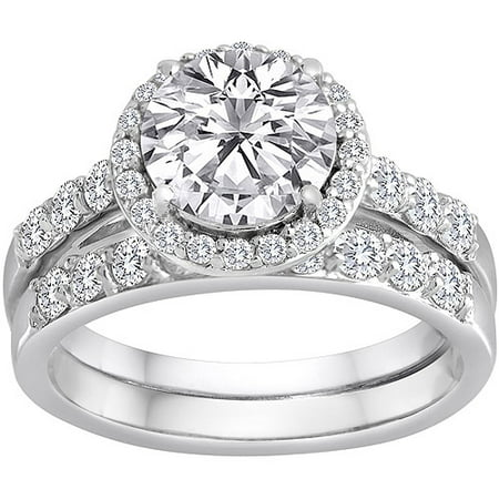 Pure Perfection Certified Bridal Ring With Brilliant Halo Center Stone Made Swarovski Zirconia