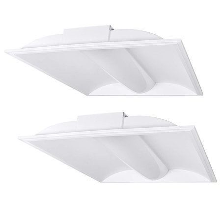 Luxrite Troffer 2x2 LED Panel Light, 35W, 3500K Natural White, 4000 Lumens,  Dimmable, 24x24 Inch Drop Ceiling Lights, UL & DLC Listed (2 Pack)