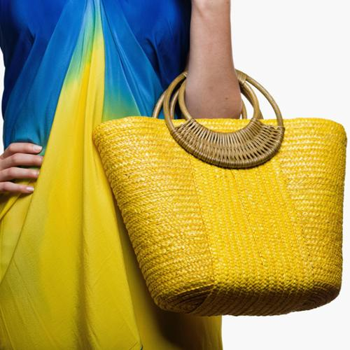 Beach Glam Women's Stylish Straw Beach Bag (China) Yellow Straw Beach Bag