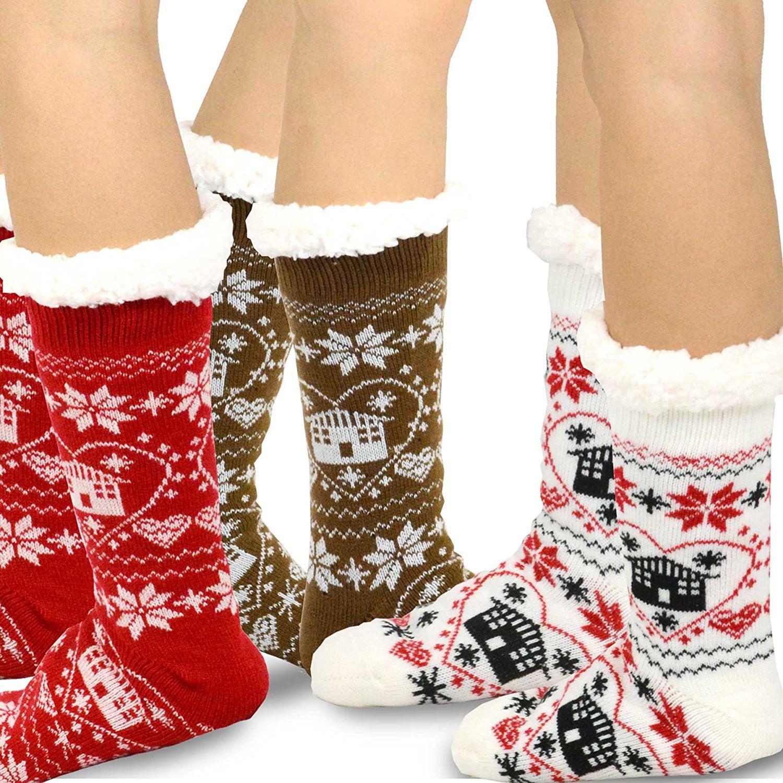 Womens Knee High Socks Dancing Deer Christmas Long Socks For Women Best For Flight Travel 2 Pairs