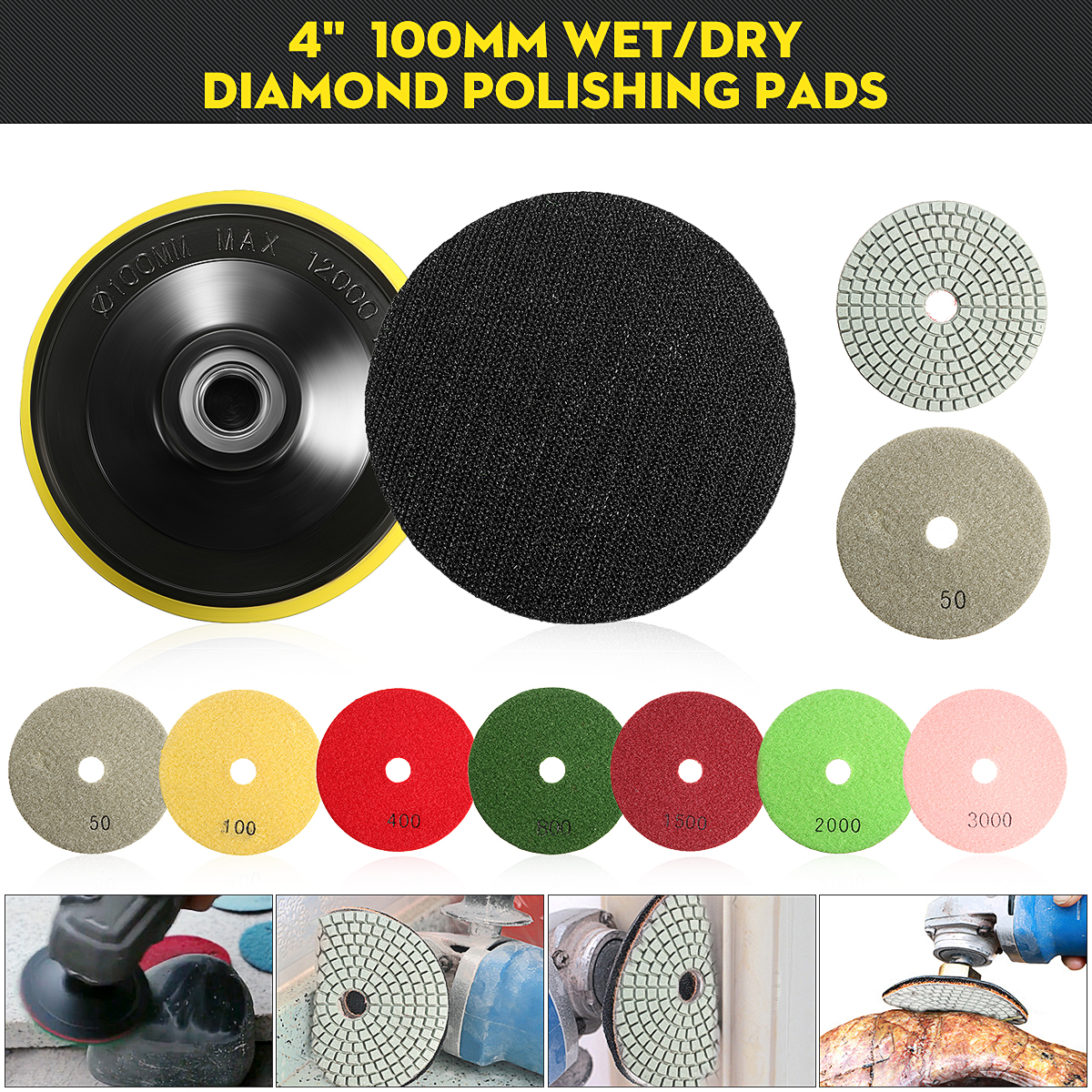 8PCS 4 Inch Wet Dry Diamond Polishing M14 Pad For Granite Stone Concrete Marble