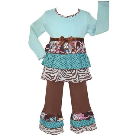 AnnLoren Girls Boutique Chocolate & Teal Safari Rumba Outfit - Safari Outfits For Women