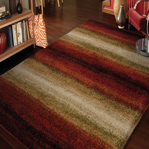 Orian Wild Weave Area Rugs - 1623 High Pile Striped Gradient Banded Rows Bars Rug