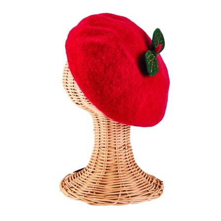 San Diego Hat Company Kids Fruit Inspired Red Wool Beret by - Fruit Hat