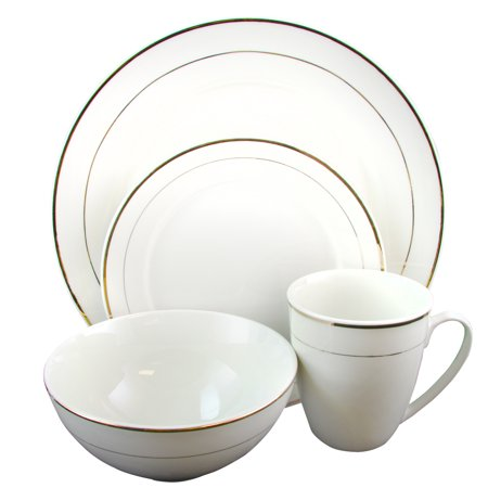 Gibson Home Palladine 16 pc Dinnerware Double Gold Banded Set ()