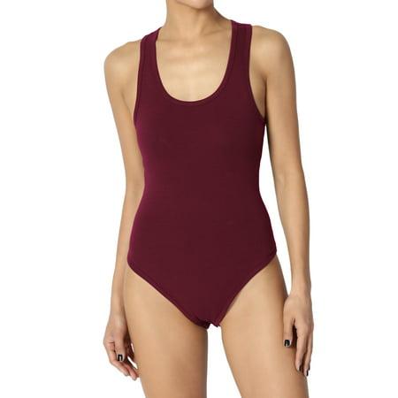 Junior's Everyday Basic Cotton Scoop Neck Tank Top Sleeveless Bodysuit