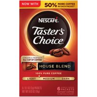 NESCAFE TASTER'S CHOICE House Blend Medium Light Roast Instant Coffee 6-0.1 Oz. Box, Pack of 12