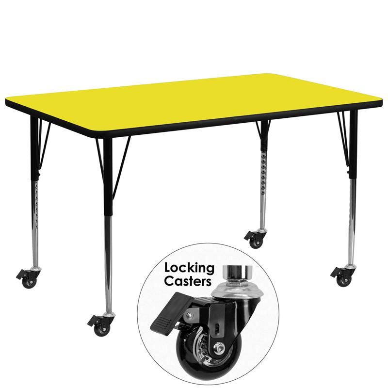 Mobile 30''W x 72''L Rectangular Yellow HP Laminate Activity Table - Standard Height Adjustable Legs