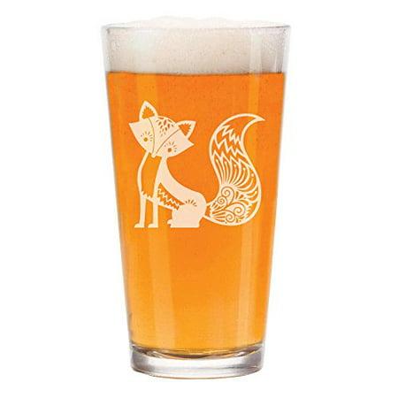 16 oz Beer Pint Glass Fancy Fox