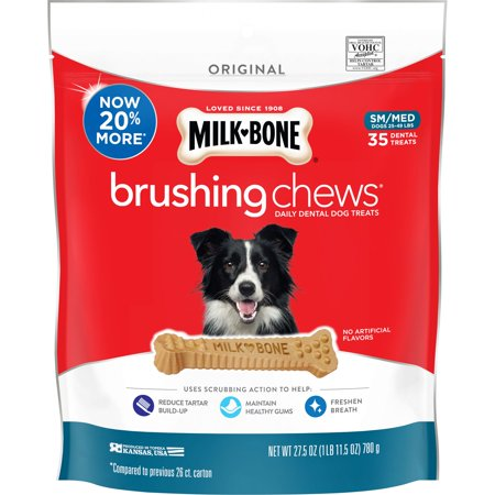 Milk-Bone Brushing Chews Daily Dental Dog Treats, Small-Medium, 27.5 Ounces, 35 Bones Per