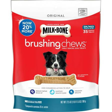 Dental Bone (Milk-Bone Brushing Chews Daily Dental Dog Treats, Small-Medium, 27.5 Ounces, 35 Bones Per)