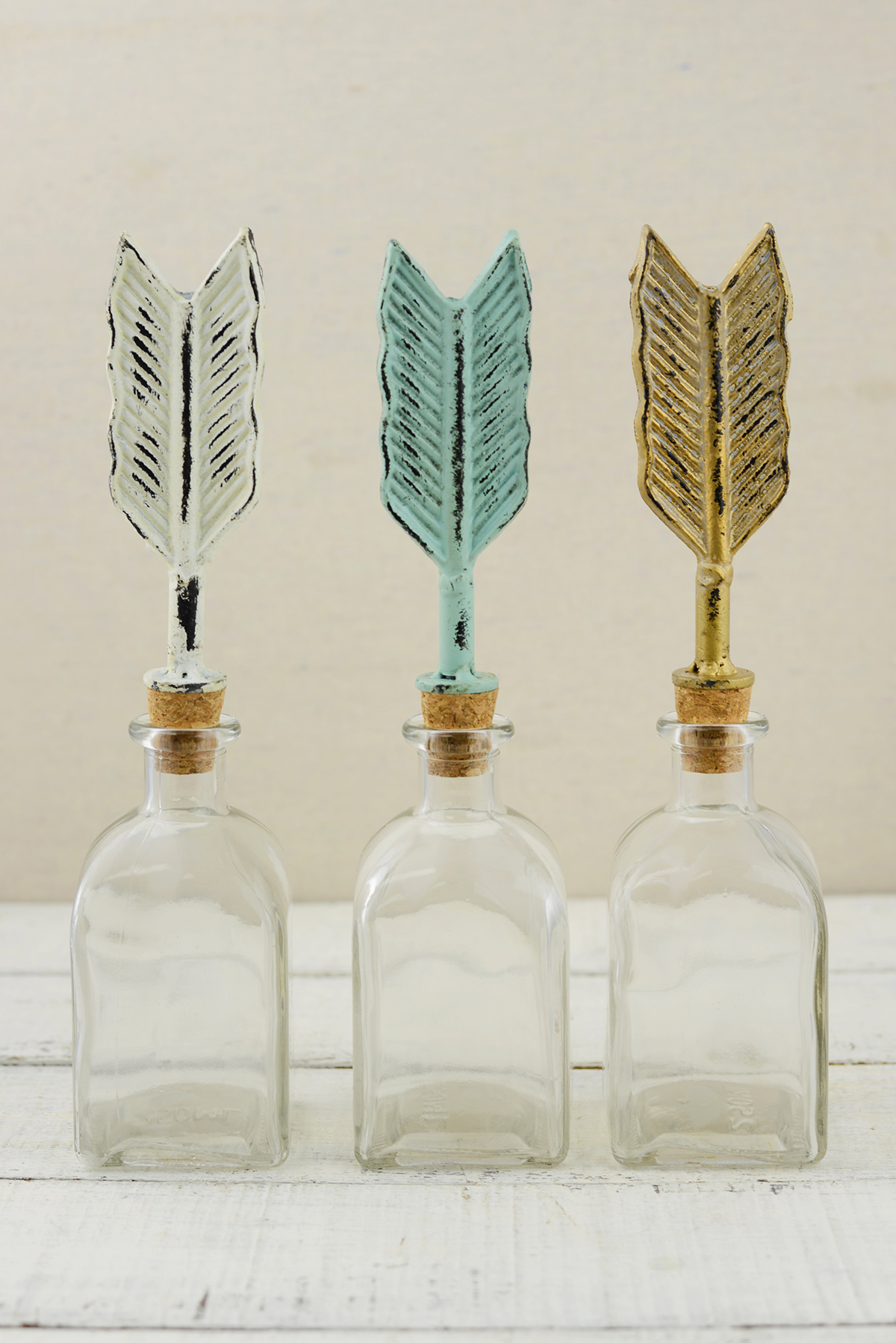 3 Decorative Arrow Glass Bottles by
