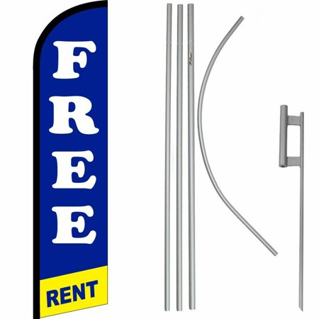 Free Rent Blue / Yellow / White Windless Banner Flag & 16 Flagpole Kit /Ground Free Rent Banner